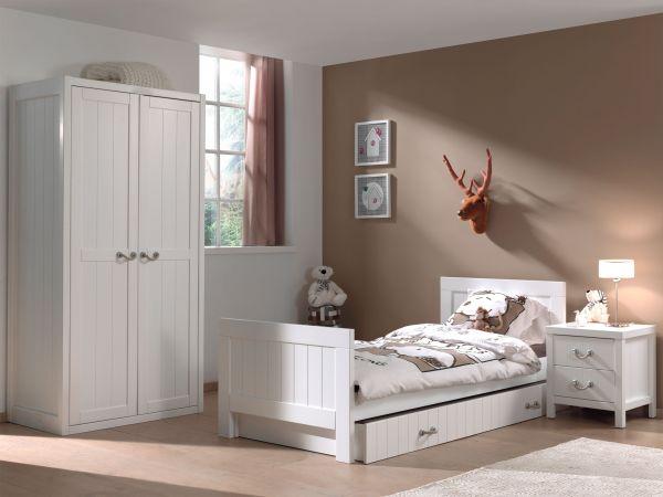 Set Lewis best. aus: Einzelbett, Bettschublade, Nachtkonsole und Kleiderschrank 2-trg., Weiß