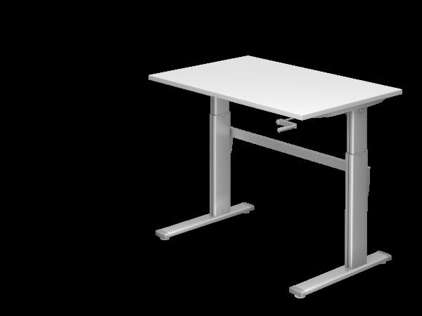 Sitz-Steh-Schreibtisch Kurbel XK12 120x80cm Weiß Gestellfarbe: Silber