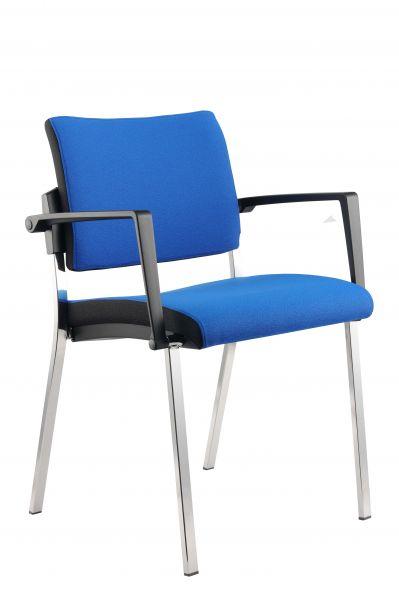 Besucherstuhl 4-Fuß 2er Set, Blau