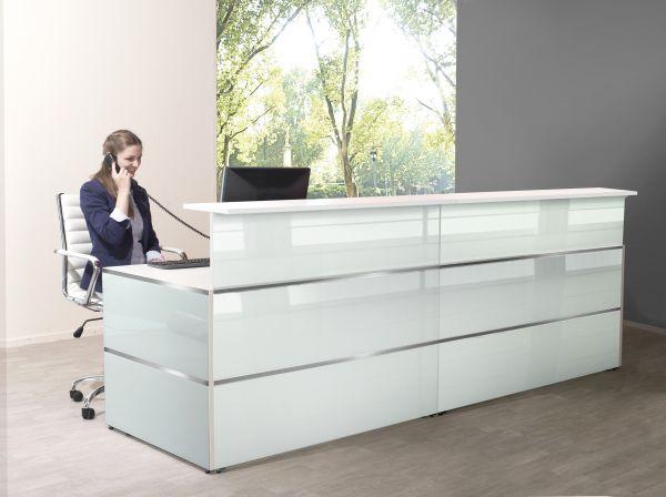 Empfangstheke Rezeption 2,70m Atlantis Weiß / Glas inkl. LED