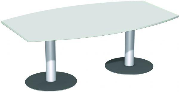 Konferenztisch Fassform, 2 Säulenfüße in Silber, Lichtgrau