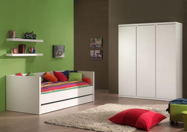 Set Lara best. aus: Kojenbett, Bettschublade, Wandborade und Kleiderschrank 3-trg., weiß