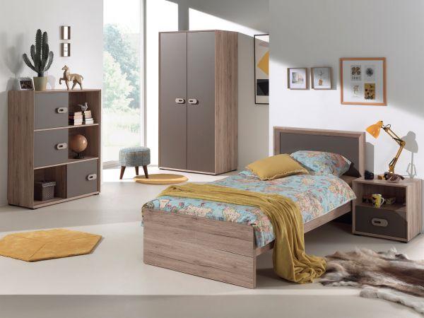 Set Emiel best. aus: Einzelbett, Nachtkonsole, Kleiderschrank, Raumteiler, Eiche San Remo Dekor