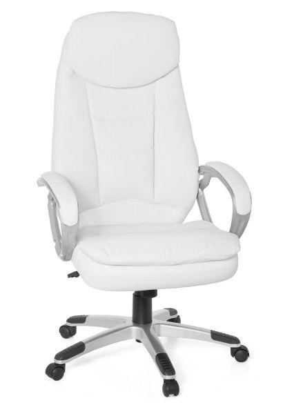 COSENZA Bürostuhl, Schreibtischstuhl, Chefsessel, höhenverstellbar, Kunstleder Weiß