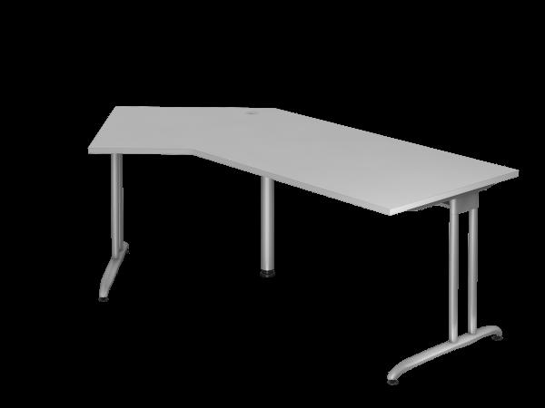 Winkeltisch BS21 C-Fuß 210x113cm 135° Grau Gestellfarbe: Silber