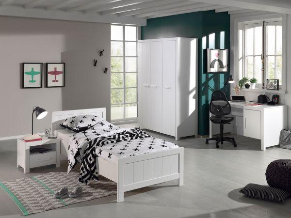 Set Erik best. aus: Einzelbett, Nachtkonsole, Kleiderschrank 3-trg., Schreibtisch, Weiß