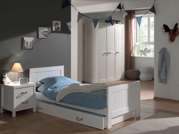 Set Lewis best. aus: Einzelbett, Bettschublade, Nachtkonsole und Kleiderschrank 3-trg., Weiß
