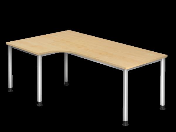 Winkeltisch HS82 4-Fuß / 5-Fuß rund 200x120cm 90° Ahorn Gestellfarbe: Silber
