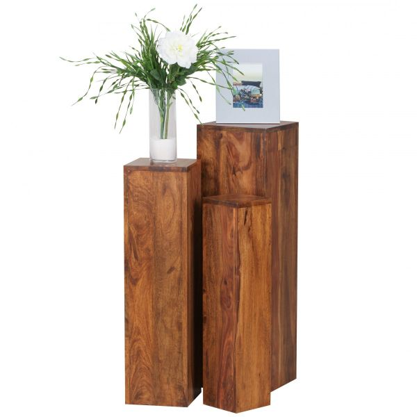Sheesham Beistelltisch, Säulen, 3er Set, Massivholz