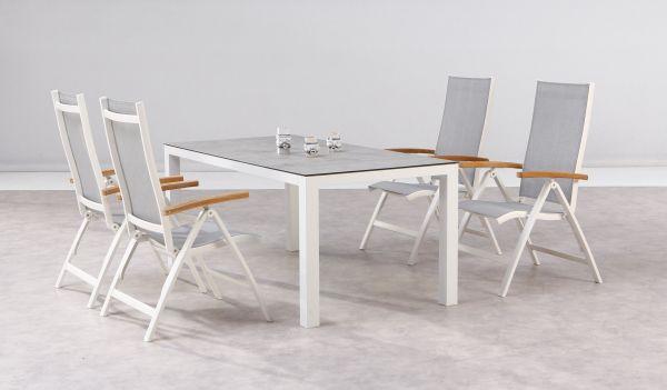 5-tlg. Dining Gruppe Sitzgruppe Cavalese + Houston weiß /Teak / Keramik