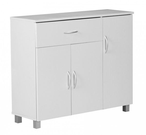 Sideboard Weiss 90 x 75 cm mit 3 Türen & 1 Schublade