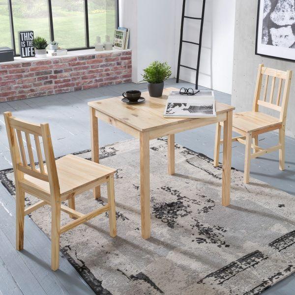Essgruppe EMIL 3 teilig Kiefer-Holz Landhaus-Stil 70 x 73 x 70 cm