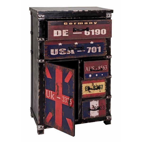 Kommode, schwarz - vintage, MDF, 60x33x100cm