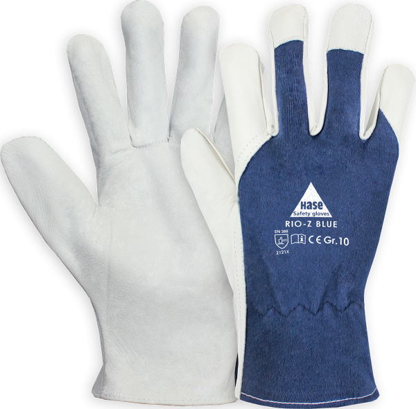 10 Paar - RIO-Z-BLUE, 5 Finger -Sicherheitshandschuhe aus Nappaleder