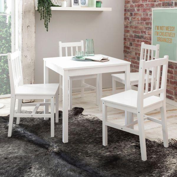 Esszimmer-Set EMIL 5 teilig Kiefer-Holz weiß Landhaus-Stil 70 x 73 x 70 cm