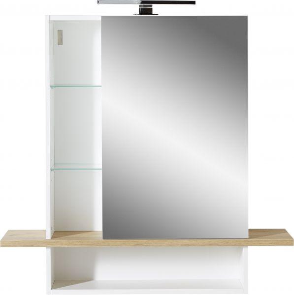 """YouHappy® Spiegelschrank """"Paulo"""", mit LED-Beleuchtung, Weiß / Navarra-Eiche, 90 x 91 x 25 cm"""