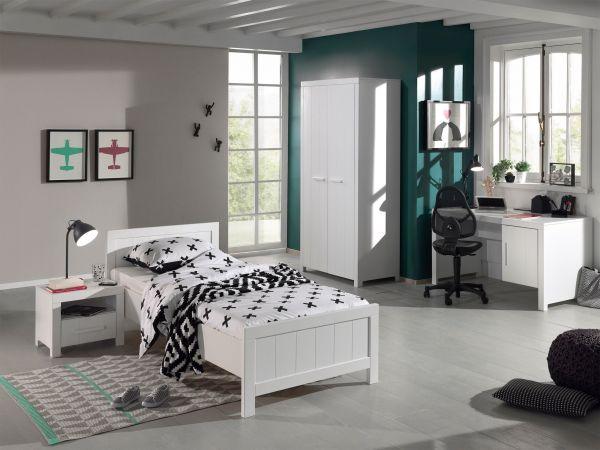 Set Erik best. aus: Einzelbett, Nachtkonsole, Kleiderschrank 2-trg., Schreibtisch, Weiß