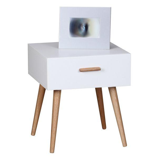 SCANIO Nachttisch mit Schublade, Füße Eiche, Weiß
