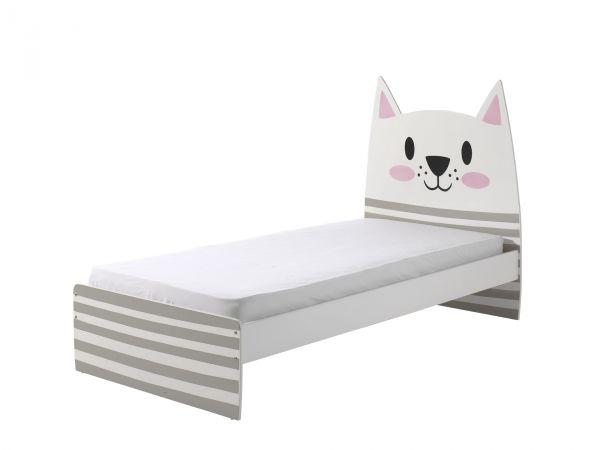 """Einzelbett Funny """"Cat"""" - Weiß / Bunt inkl. Lattenrost"""