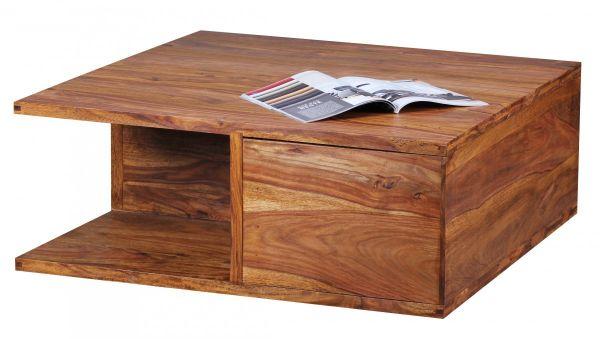 Sheesham Couchtisch, Wohnzimmer-Tisch, Massiv-Holz, Dunkel-Braun, 88 cm breit