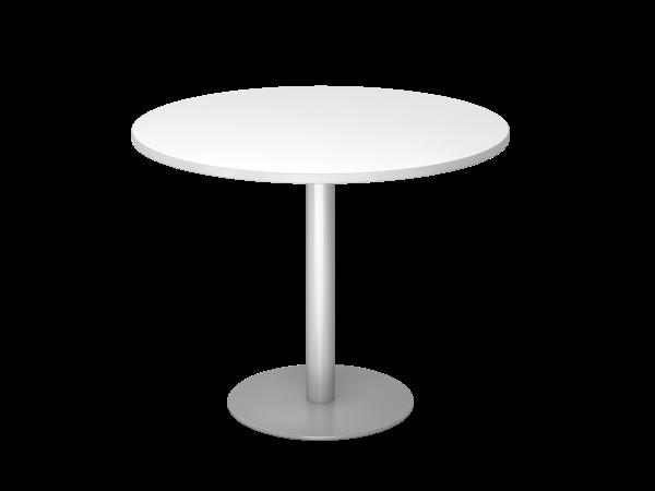 Besprechungstisch STF10 100cm Ø rund Weiß Gestellfarbe: Silber