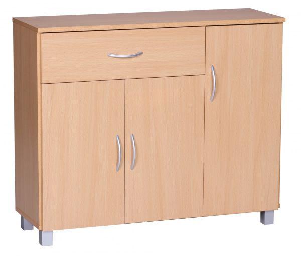 Sideboard Buche 90 x 75 cm mit 3 Türen & 1 Schublade