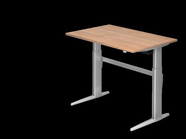 Sitz-Steh-Schreibtisch elektrisch XE12 120x80cm Nussbaum Gestellfarbe: Silber