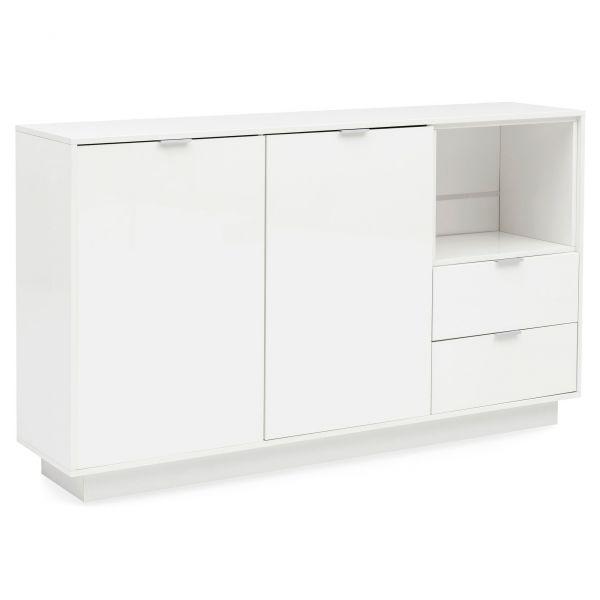 Design Sideboard Hochglanz Holz Anrichte Groß 153x80x35 cm Weiß