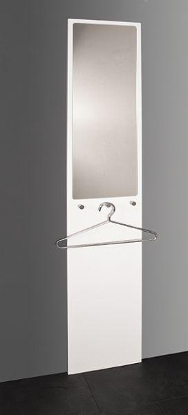 Wandgarderobe, weiß - Chrom, MDF, Stahlrohr, Spiegel, 35x7x190cm
