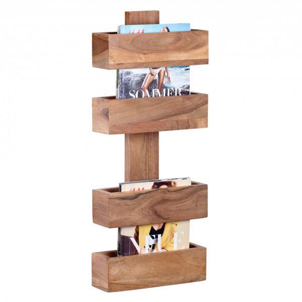 Zeitungsständer, Zeitschriften-Ständer, 2 Ablagefächer, Massivholz, Akazie