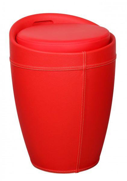 LUCY Wäschebehälter, Wäschekorb, Hocker mit Funktion Badhocker, Kunstleder Rot