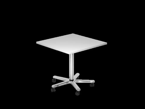 Säulenhubtisch, 80x80cm, Grau / Chrom