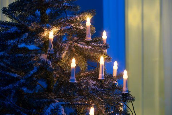 16er LED Weihnachtsbaum Lichterkette, außen, warmweiß