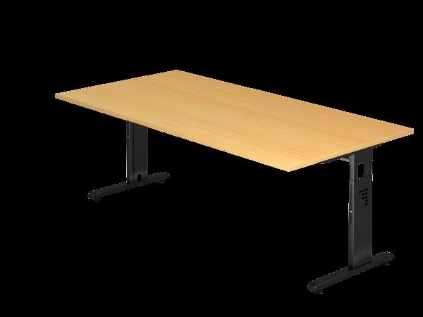 Schreibtisch OS2E C-Fuß 200x100cm Buche Gestellfarbe: Schwarz