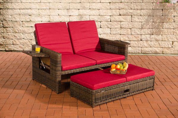 Sofa Ancona Rubinrot 5mm, braun-meliert