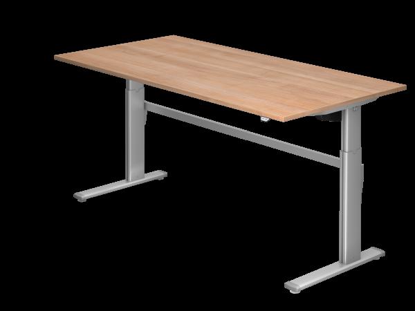 Sitz-Steh-Schreibtisch elektrisch XM2E 200x100cm Nussbaum Gestellfarbe: Silber