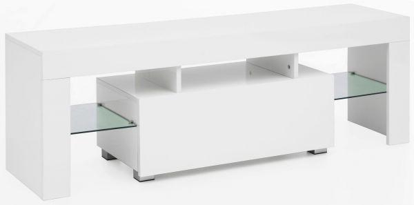Design Lowboard WL5.714 130x45x35 cm Weiß Hochglanz Holz HiFi Regal LED