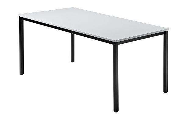 Besprechungstisch 160x80cm Grau 4-Fuß Gestellfarbe: Schwarz