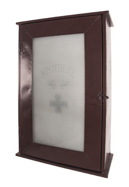Medizinschrank, braun, Metall, Glas, 43x17x62cm