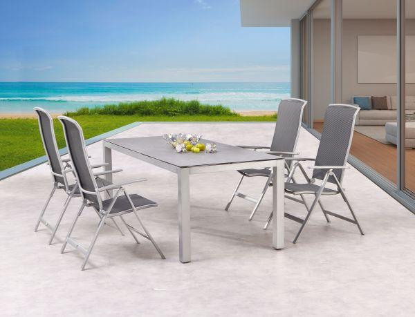5-tlg. Dining Gruppe Sitzgruppe Palermo + Houston silber / Keramik