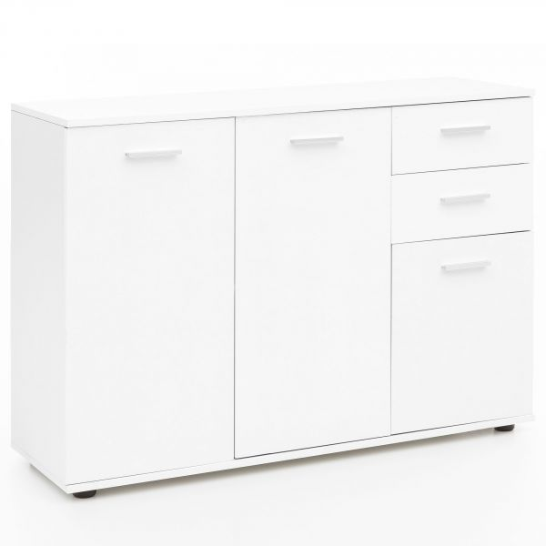 Kommode WL5.293 mit Türen & Schubladen 107x104x35 cm Schrank Holz Weiß