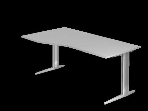 Schreibtisch C-Fuß 180x100 / 80cm Grau Gestellfarbe: Silber