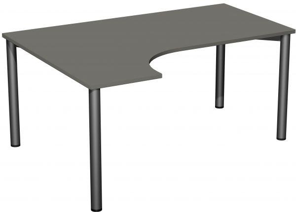 PC-Schreibtisch links, höhenverstellbar, 160x120cm, Graphit / Anthrazit
