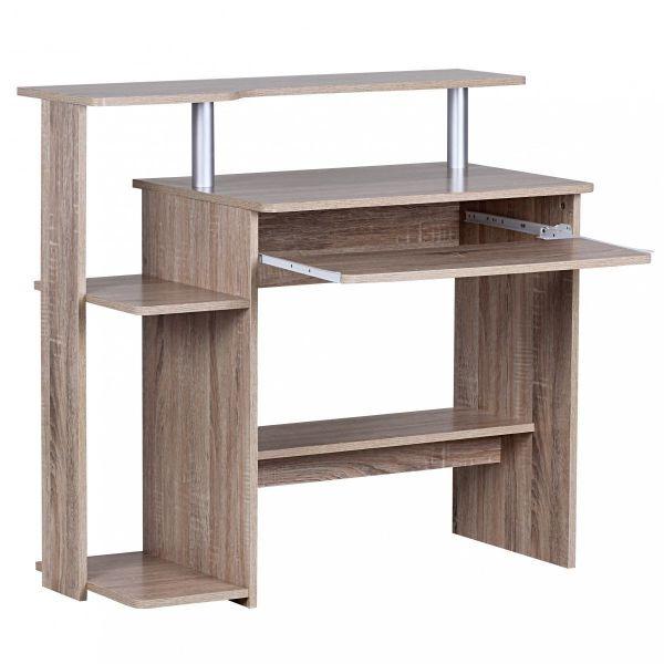 Dennis Computertisch mit viel Ablage, 94 x 48 x 90 cm, Holz