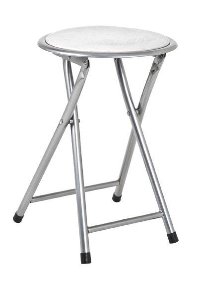 Klapphocker, Alu - weiß, Stahl, Sitz gepolstert, 30x30x45cm