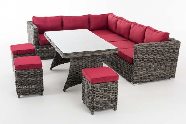 Sitzgruppe Sorano 5mm Rubinrot, grau-meliert