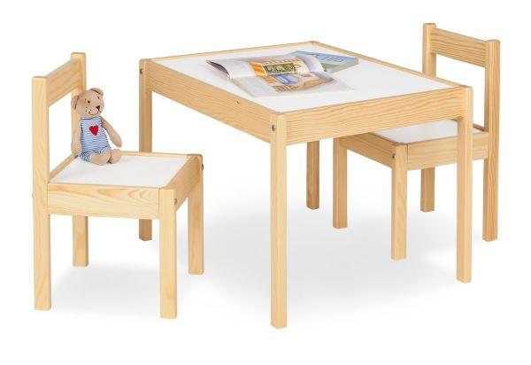 Kindersitzgruppe 'Olaf', 3-tlg., natur / weiß