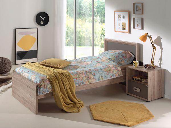 Set Emiel best. aus: Einzelbett, Nachtkonsole, Eiche San Remo Dekor