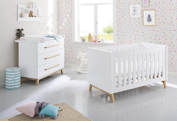 Kinderzimmer Sparset 'Riva' breit, weiß / klar