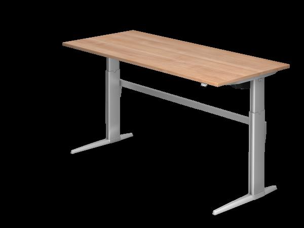 Sitz-Steh-Schreibtisch elektrisch XE19 180x80cm Nussbaum Gestellfarbe: Silber